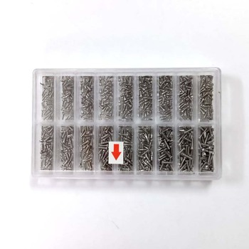 900 sztuk zestaw srebrny ze stali nierdzewnej małe śruby do oczu okulary zegarek zestaw do naprawy zegarów skrzynka z narzędziami Assorted screw screw tanie i dobre opinie Zestawy nakrętki i śruby Elektryczne