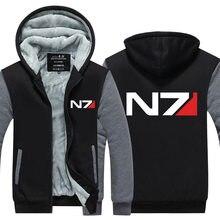 Мужские Игры Толстовка Mass Effect N7 Сгущает Руно Пальто Мода Зима США ЕС Плюс Размер