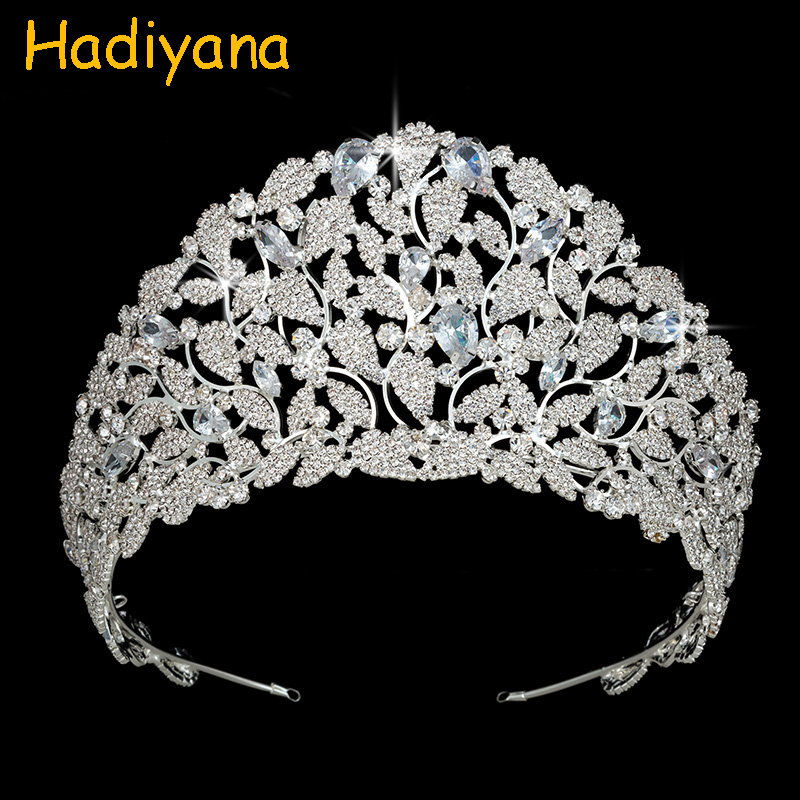 Hadiyana Charm Bride Crown Tiaras Sparkling AAA Cubic Zircon Pave Gold Plating Crowns For Women Fine