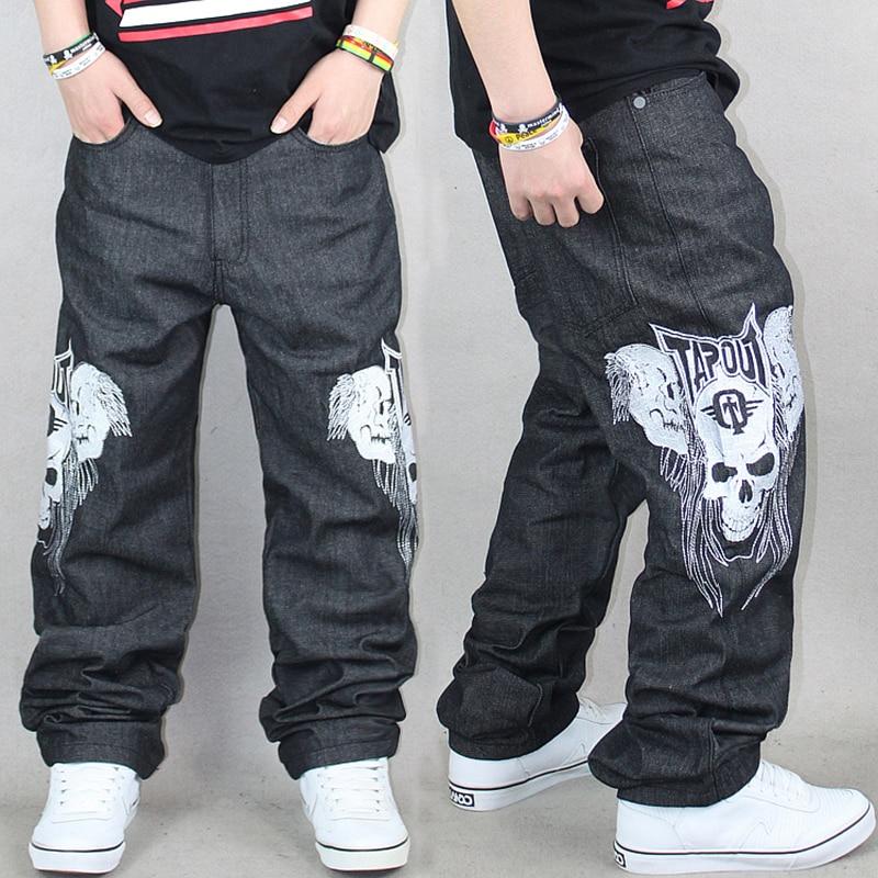 Men's Fashion Cool Skull Hip Hop Jean Pants Wide Leg Loose ...