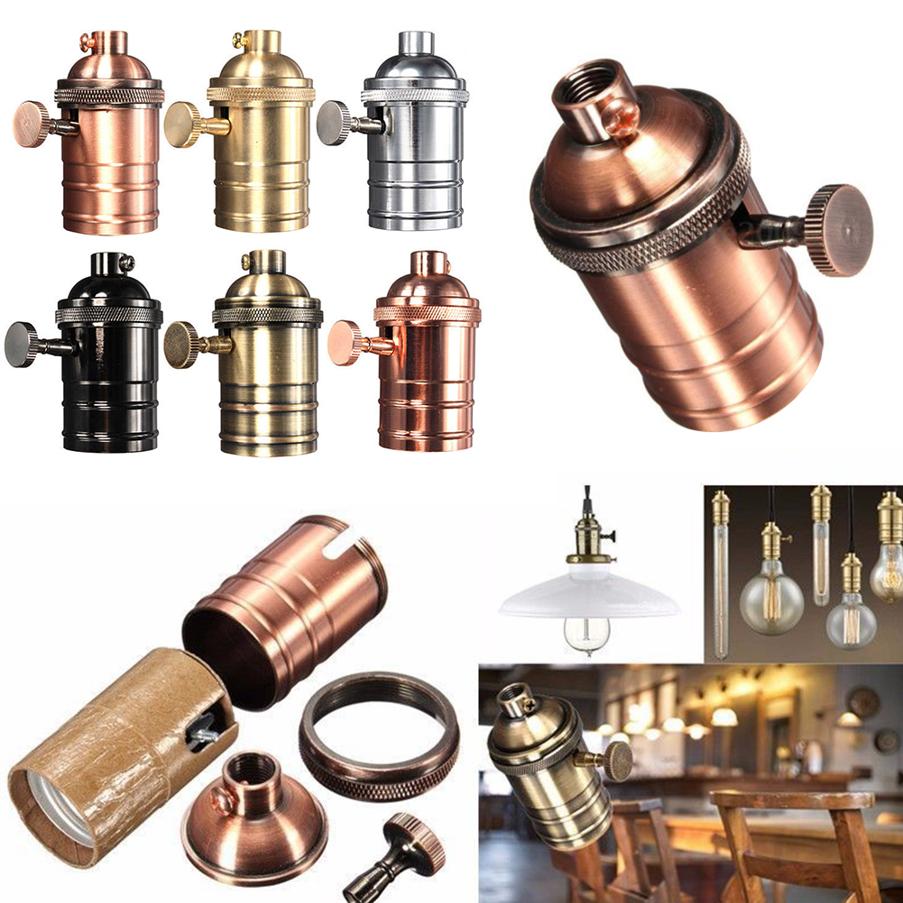 1pcs 250W Vintage Edison Light Socket Holder Screw Bulb Antique Copper E26/E27 Retro Lamp Standard Brass Lampholders Fixture