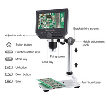 G600 600X 電子 USB 顕微鏡デジタルはんだビデオ顕微鏡カメラ 4.3 インチ液晶内視鏡拡大鏡カメラ + 8 LED