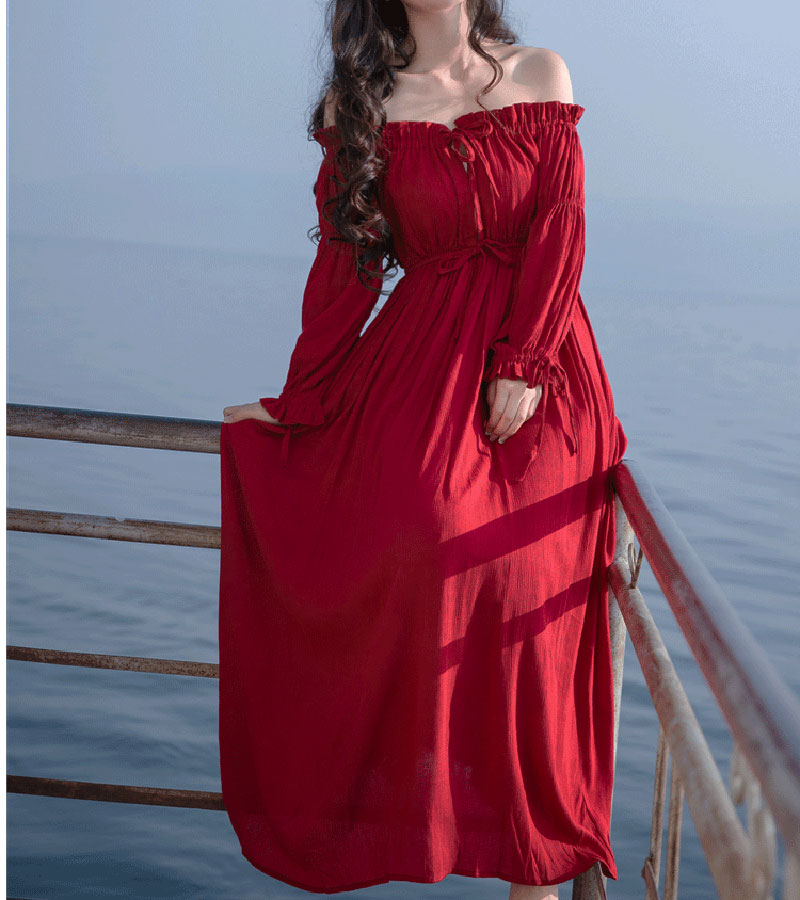 PERHAPS U red strapless long puff sleeve maxi long dress solid off shoulder loose D0526 2