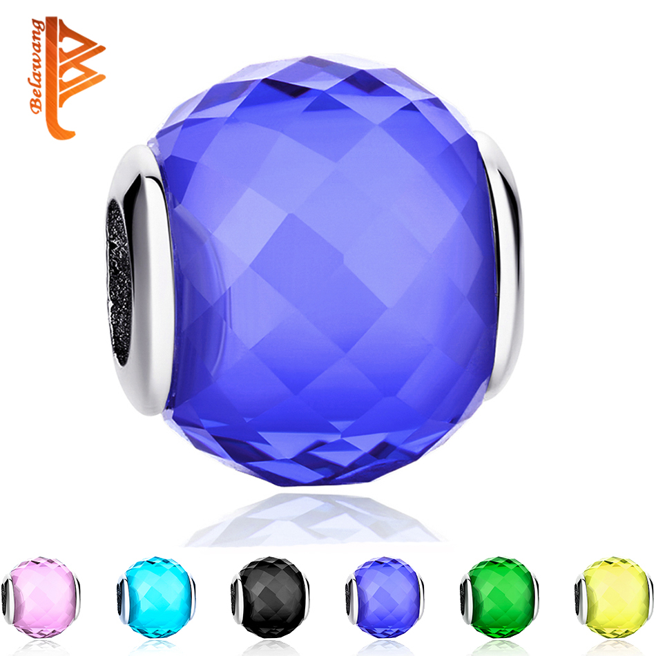 TOP Quality 10 Colors Blue Murano Glass Beads Fit Original BW Silver Charm Bracelet Pendant European DIY Jewelry Making
