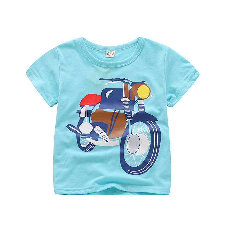 V-TREE קיץ תינוק נערי קריקטורה רכב הדפסת כותנה חולצות Tees T חולצה עבור בני ילדים ילדים להאריך ימים יותר בגדים חולצות 2-8 שנה