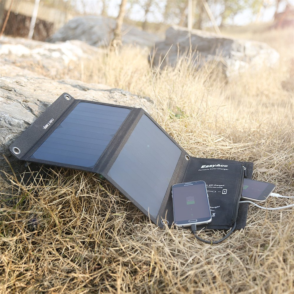 EasyAcc 15 watt Solar ladegerät USB 2-Port mit SunPower Solar Panel hohe effiziente für iPhone, SE Galaxy S6/S6 Rand Nexus 6, iPhone