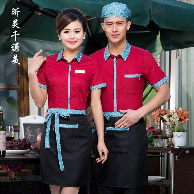 Ropa de trabajo manga larga Hotel uniformes verano camarera restaurante de  comida rápida camisa de trabajo 1a1baeaf44dae