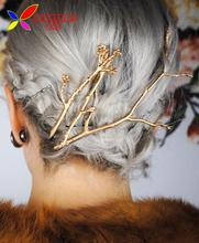 2016 Tree Clip Fashion Novel Designer Vintage Metal Branches Hairpins for Women font b Wedding b