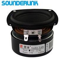 Sounderlink etiquetas de áudio 3 25w, 2 peças, subwoofer, woofer, baixo, alto falante midrange, 3 polegadas 30w alto falante diy