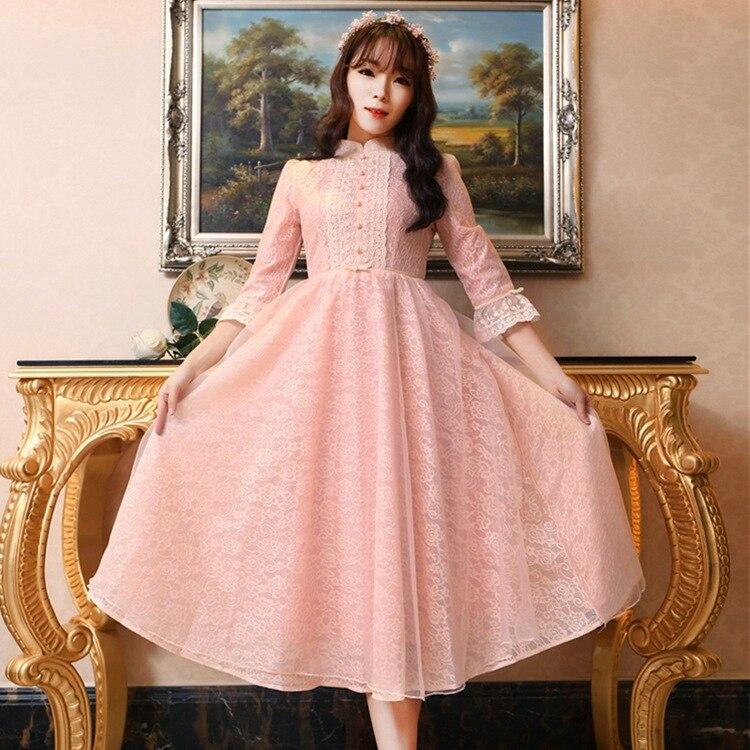 2018 printemps et automne nouvelles dames harajuku robe en dentelle rétro petite lolita fête petites robes bleues roses longue robe mi-longue élégance