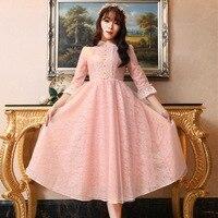 2018 spring and autumn new ladies harajuku lace dress retro small lolita party little pink blue dresses long midi elegance dress