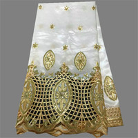 High Class White With Gold Sequins African George Material Nice Party Lace Fabric For Evening Dress