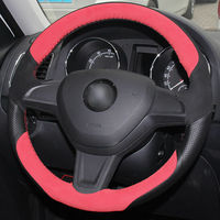 leather hand Top Leather Steering Wheel Hand-stitch on Wrap Cover For Skoda Yeti 2014-2016 (3)
