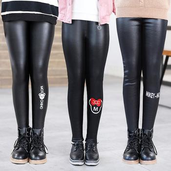 2020 gorąca sprzedaż dziewczyny PU spodnie skórzane Legging dla dziewczynek grube aksamitne w pasie obcisłe legginsy Cartoon czarne spodnie dla dzieci tanie i dobre opinie SEOKUMPA Octan Mikrofibra COTTON CN (pochodzenie) skinny PATTERN Pełnej długości Pasuje prawda na wymiar weź swój normalny rozmiar