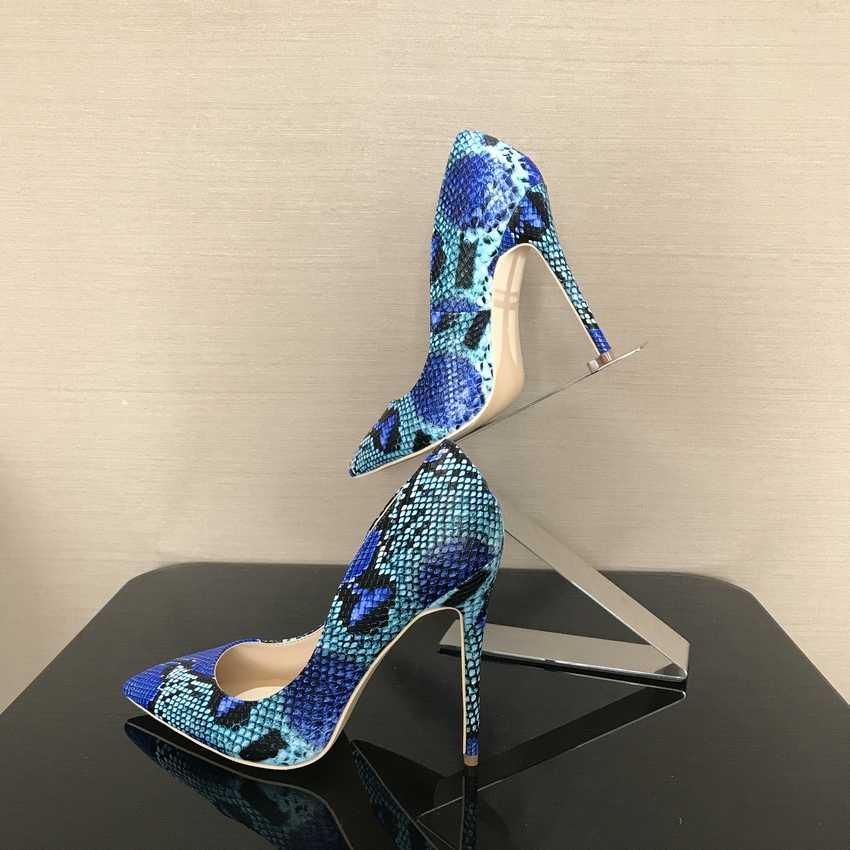 2018 Bahar Marka Ayakkabı Kadın Yüksek Topuklu Bayan Bayan Pompaları yüksek topuk ayakkabı Bayanlar Ayakkabı Yılan Baskılı bej alt 8 10 12 cm