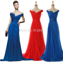 2015 Really Images Evening Dresses Sheath Off Shoulder Ruffle Pleats Open Back Chiffon Formal Gowns yk1A361