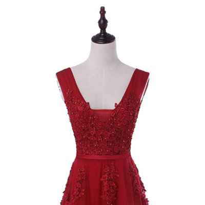 Горячая Распродажа, Коктейльные Вечерние платья, короткое, Vestido de Festa, Мини сексуальное платье с аппликацией, v-образным вырезом, бисером и жемчугом - Цвет: wine red