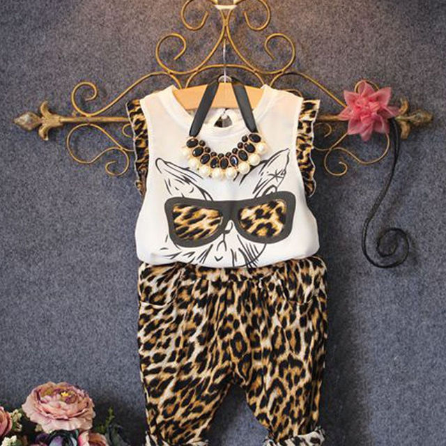 28a9888a3c 2015 Kids Girls Leopard Print Glasses Cat Tops shirt with Pants 2pcs  Outfits 2 to 6Y