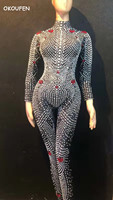 Bright Pearls Rhinestone Stretch thin Jumpsuit underwear Stage Dance Wear adult stage costumes