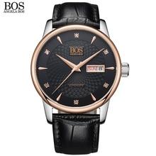 АНЖЕЛА BOS Бизнес механические часы для мужчин автоматические часы марки Сапфир Черный Волнистый Узор Кожа розового золота