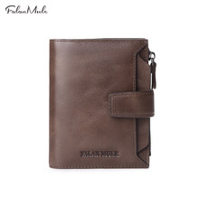 FALAN MULE Genuine Leather Men Wallets Short Coin Purse Small Vintage Men's Wallet Cowhide Leather Card Holder Pocket Purse(China)