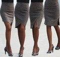 Saias de inverno S-XL das mulheres moda da queda do outono feminino Vintage joelho de comprimento dividir magro quadril OL Formal de lã xadrez saia lápis