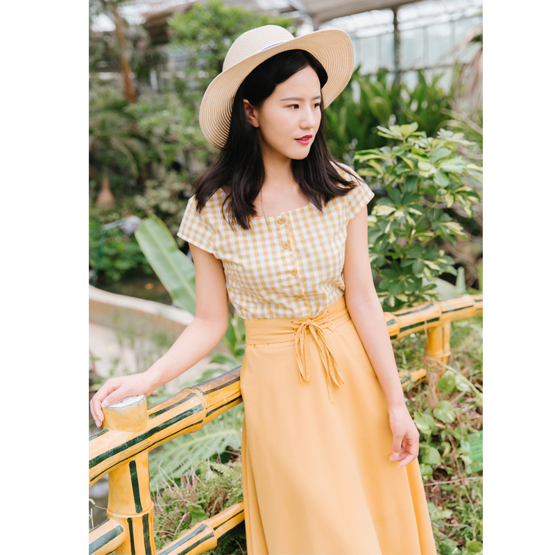 Chic Fashion Two-piece Casual Suits Female Summer 2018 Women Yellow Red Plaid T Shirt A Line Skirt Sets Retro Midi Skirt Suits 13