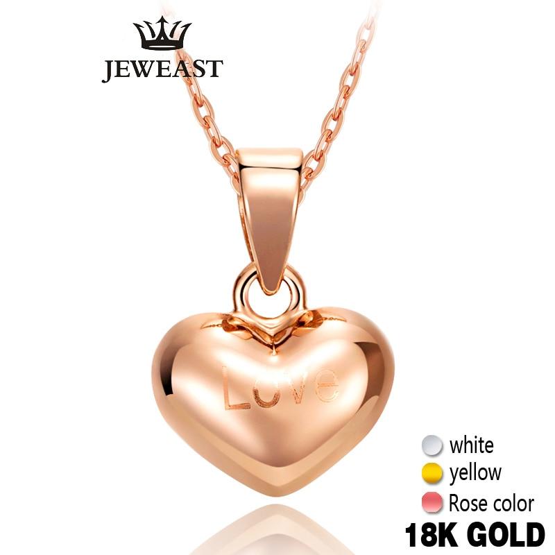 18 k Pur Or Pendentif Coeurs Rose Jaune Amour Mignon Fine bijoux Fille Miss Cadeau Remise Exquis À La Mode Charmes Femmes Chaude vente