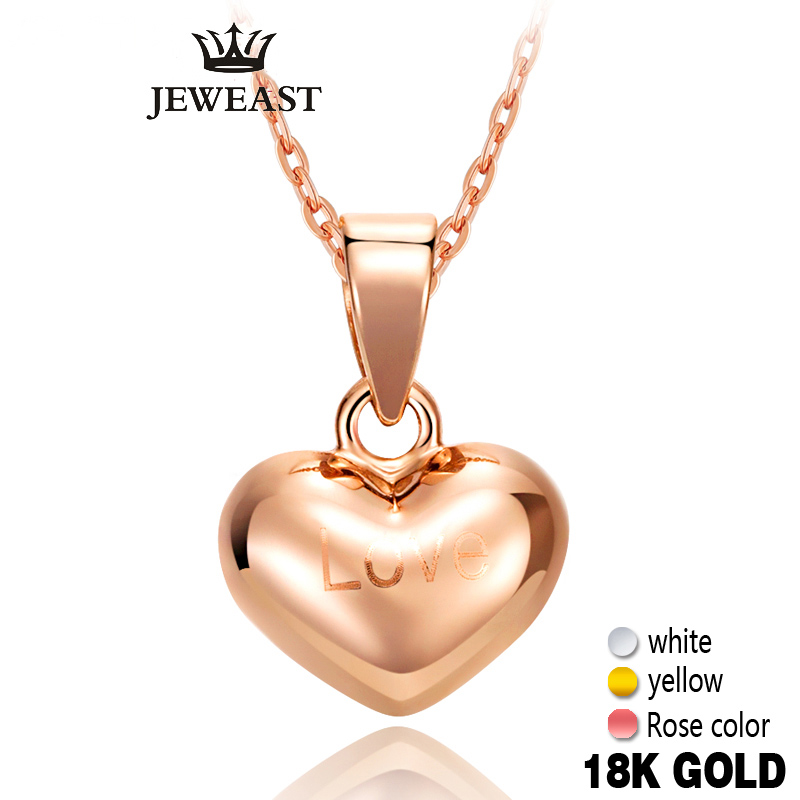 18k Pure Heart Pendant Emas Rose Yellow Love Cute Fine Jewelry Girl Miss Hadiah Diskaun Charms bergaya Charms Wanita Hot Sale