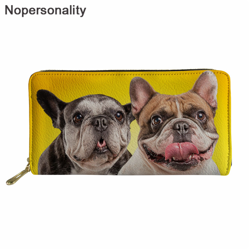 Nopersonality French Bulldog Women Wallet Credit Card Small Coin Pocket and Ladies Purse Holders Clutch Bags Kawaii Wallets