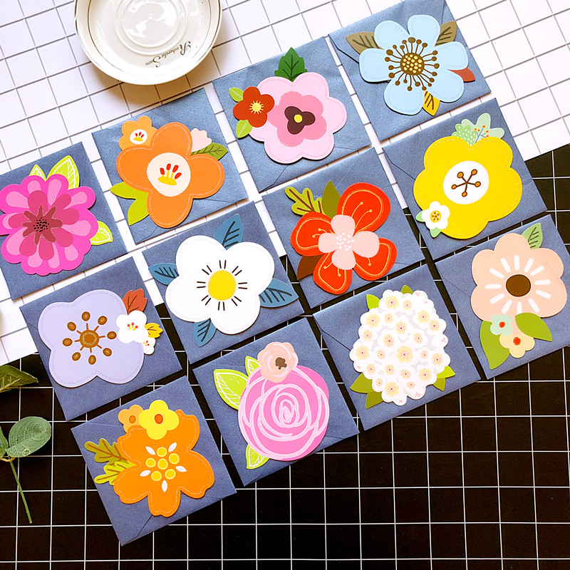 cute flower shaped cards n envelopes,creative gift mini greeting cards for kids