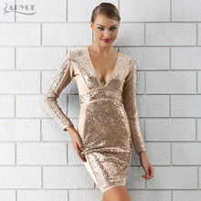 Adyce 2019 Winter Luxe Sequin Bandage Jurk Vrouwen Sexy Diepe V-hals Lange Mouwen Bodycon Clubwears Celebrity Avond Party Dress(China)