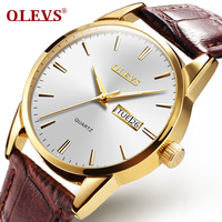 OLEVS Top Brand Business Leather Watch For Men Women Auto Date Gold Dial Male Clocks Watches