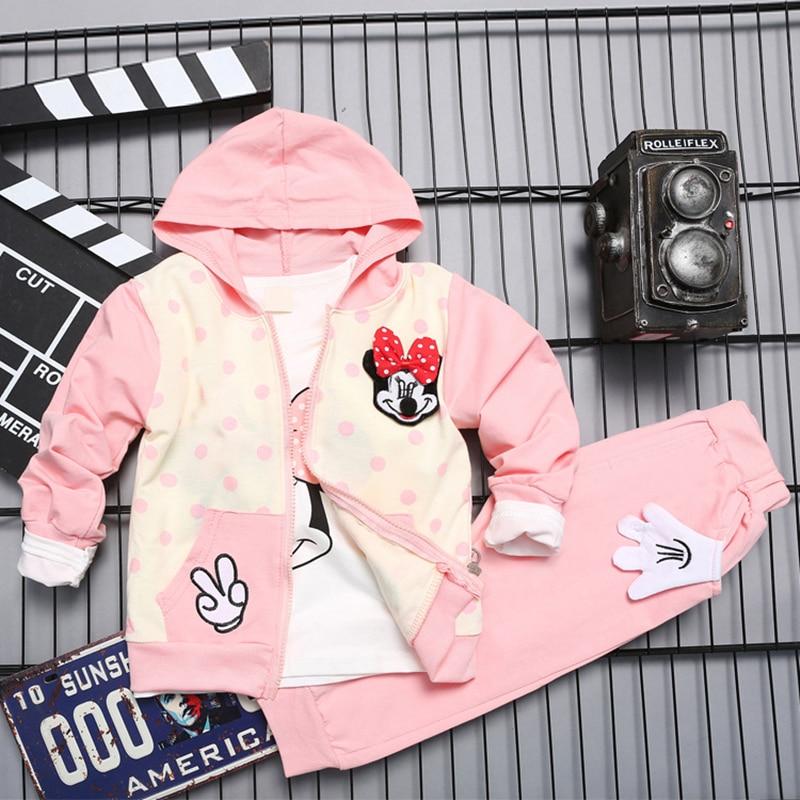 Minnie Mouse Limited New 2016 Autumn Girls Baby Clothing Set Infant Clothes Children Hoodie+t Shirt+pants 3 Pcs Sets Tracksuit