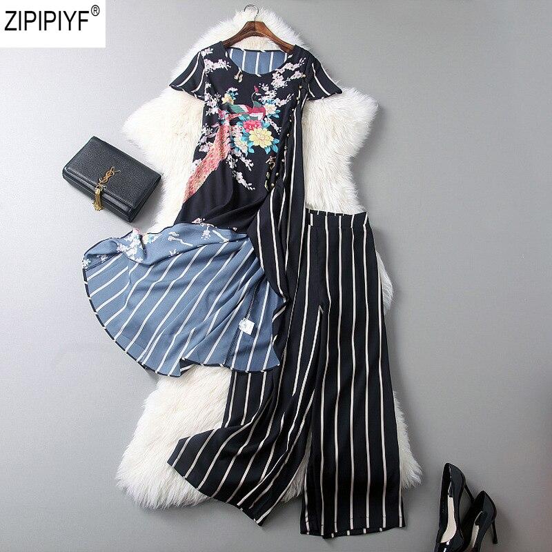 2 Piece Set Women 2018 Summer Vintage Striped O-Neck Short Sleeve Irregular Dress Top + Ankle-Length Wide Leg Pants Suit C1378 cropped wide sleeve top