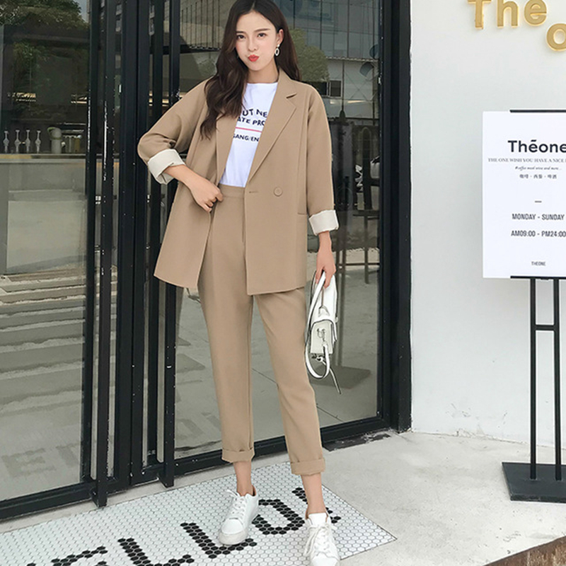 MODA NOVA 2018 Autumn Work Pant Suits Women Notched Collar Blazer Jacket & Pencil Pant 2 Piece Set Khaki OL Female Suit Befree