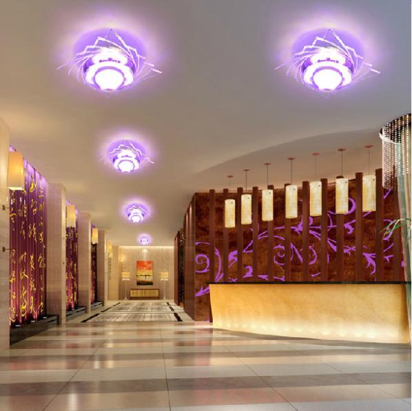 3 W lüks Kristal Led tavan ışıkları restoran koridor oturma - İç Mekan Aydınlatma - Fotoğraf 1
