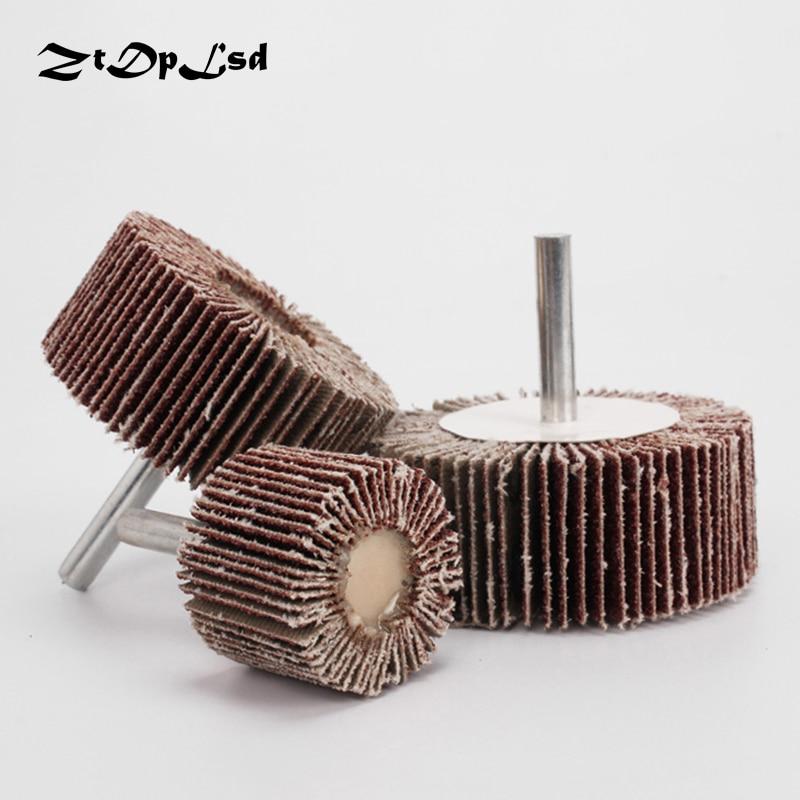 ZtDpLsd 1Pcs P80# Blinds Daibing Impeller Grinding Sandpaper Flap Wheel Head 6mm Shank Mandrel For Rotary Mini Drill Polish Tool