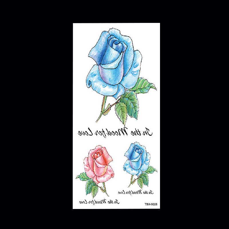 1 قطعة فلاش تاتو حنة وهمية المؤقتة الوشم ملصقات الأحمر الأزرق روز الزهور الذراع الكتف الوشم مقاوم للماء النساء على الجسم