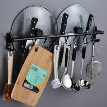 Wall Mounted Storage Rack Holder Hanging Saucepan Lid Pot Shelf Stand Kitchen Utensils Organizer with Hooks  Accessories