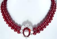 latest design 2 row 8mm red jades wedding +jades/zircon pendant short necklace for wedding and party
