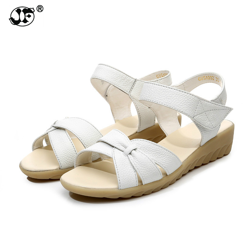 Plus size (32-43) flat summer sandals for women mother shoes genuine leather nurse shoes flat maternity shoes women sandal beyarne white nurse shoes sandals leather wedges cow muscle outsole women summer maternity shoes sandals mother shoes size 33 41