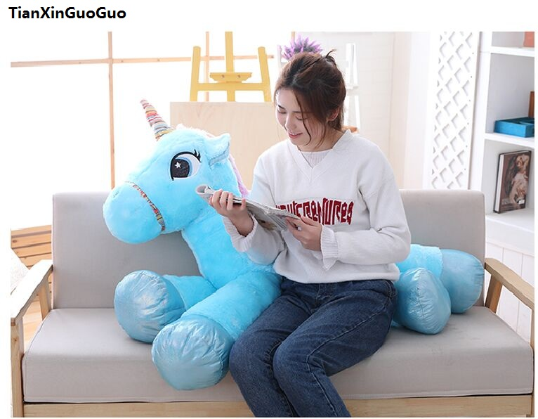 stuffed plush toy huge 120cm lovely unicorn plush toy cartoon unicorn with wings ,soft doll sleeping pillow Christmas gift s2092 stuffed animal 120cm brown lying sleeping dog plush toy soft throw pillow w2302