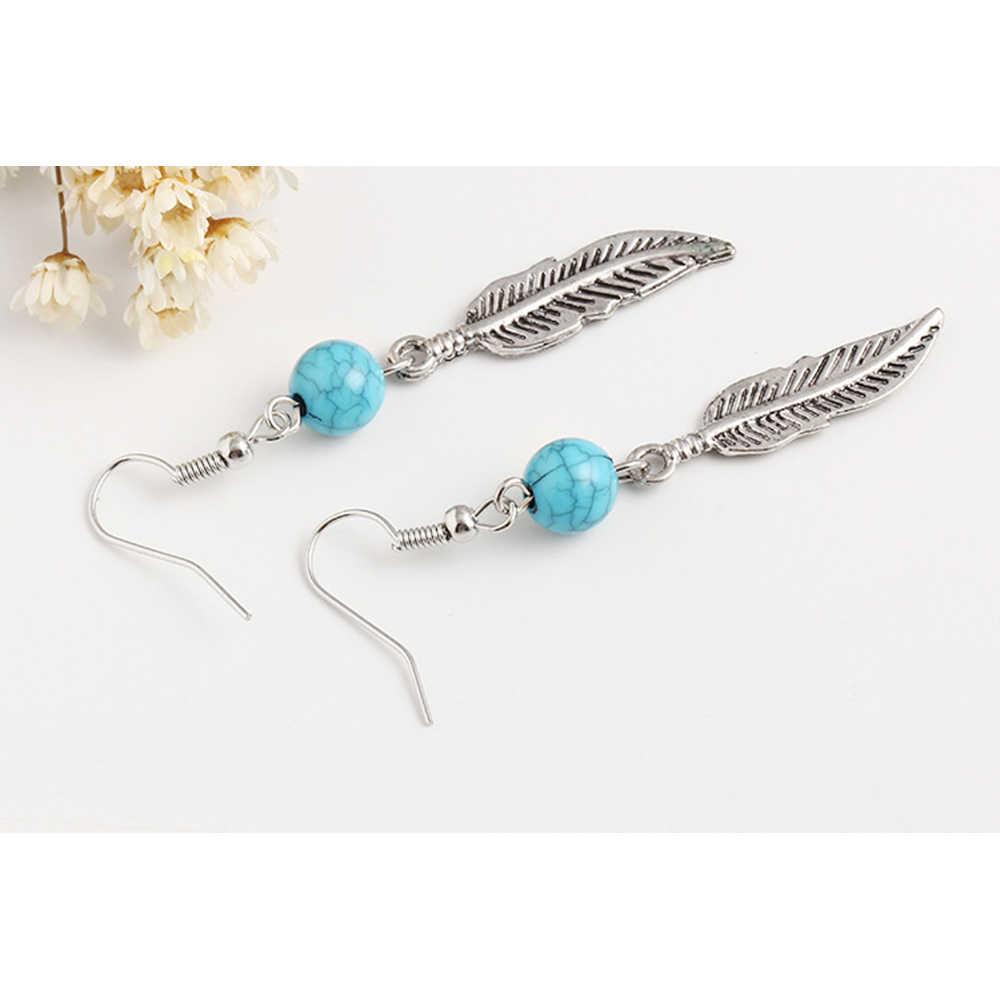 Boucles d'oreilles goutte plume Vintage SUKI pour femmes Bijoux Boho ethniques Turquoises Antique argent longue boucle d'oreille Bijoux de mode cadeaux