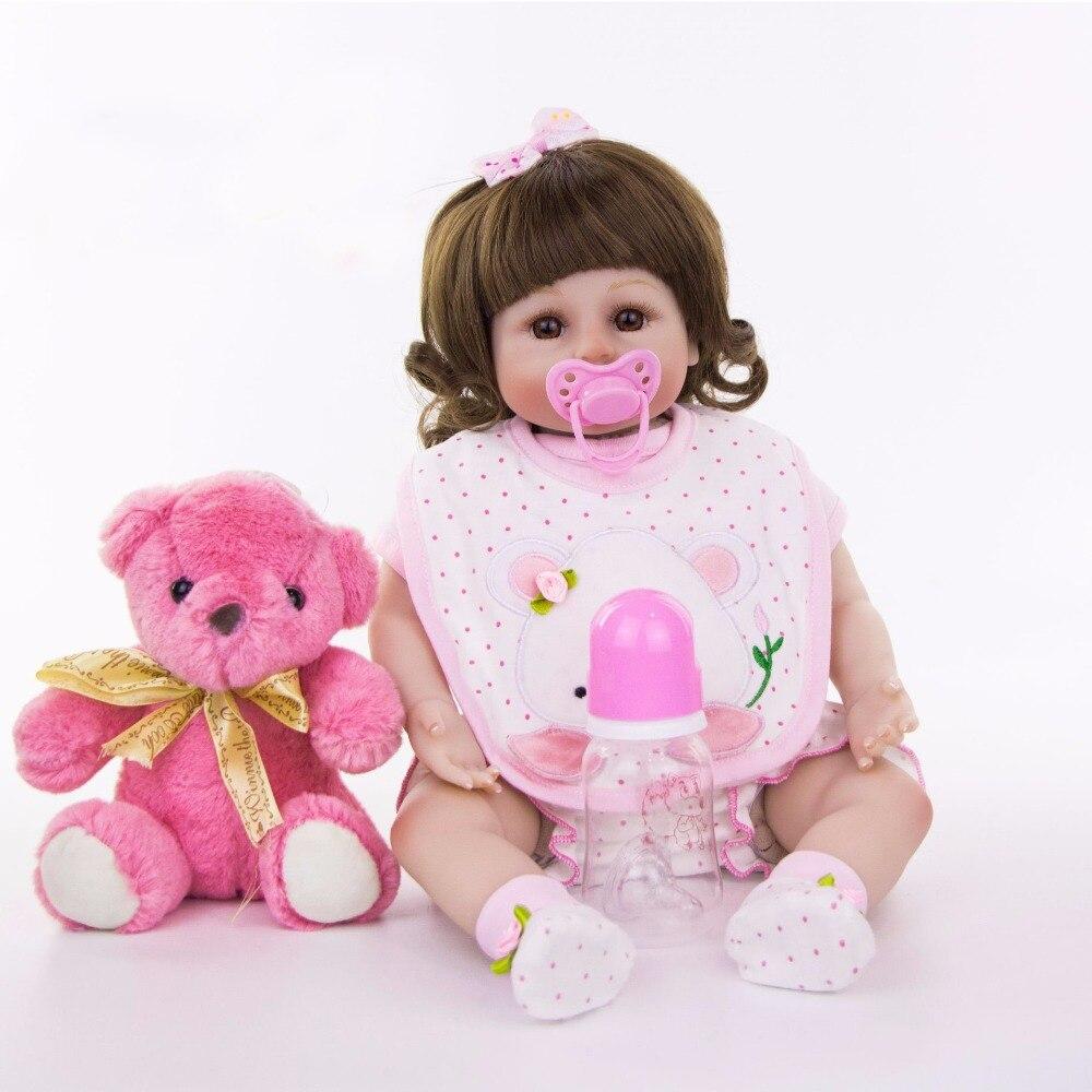 Realista bebes reborn 1948cm silicone reborn baby girl dolls with pink bear plush newborn babies  toddler dolls toys giftsRealista bebes reborn 1948cm silicone reborn baby girl dolls with pink bear plush newborn babies  toddler dolls toys gifts
