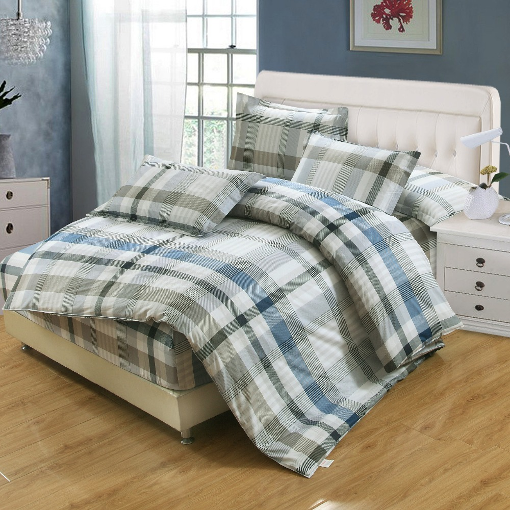 100 Cotton stripe Bedding set Modern style 4pcs Queen king full twin Size Spring Bed fitted