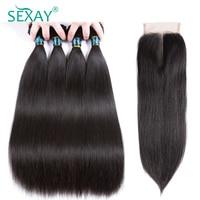 Sexay 4 gói Brazil tóc thẳng với đóng cửa 5 cái/lốc 100% tóc người dệt bó với đóng cửa factory outlet bán