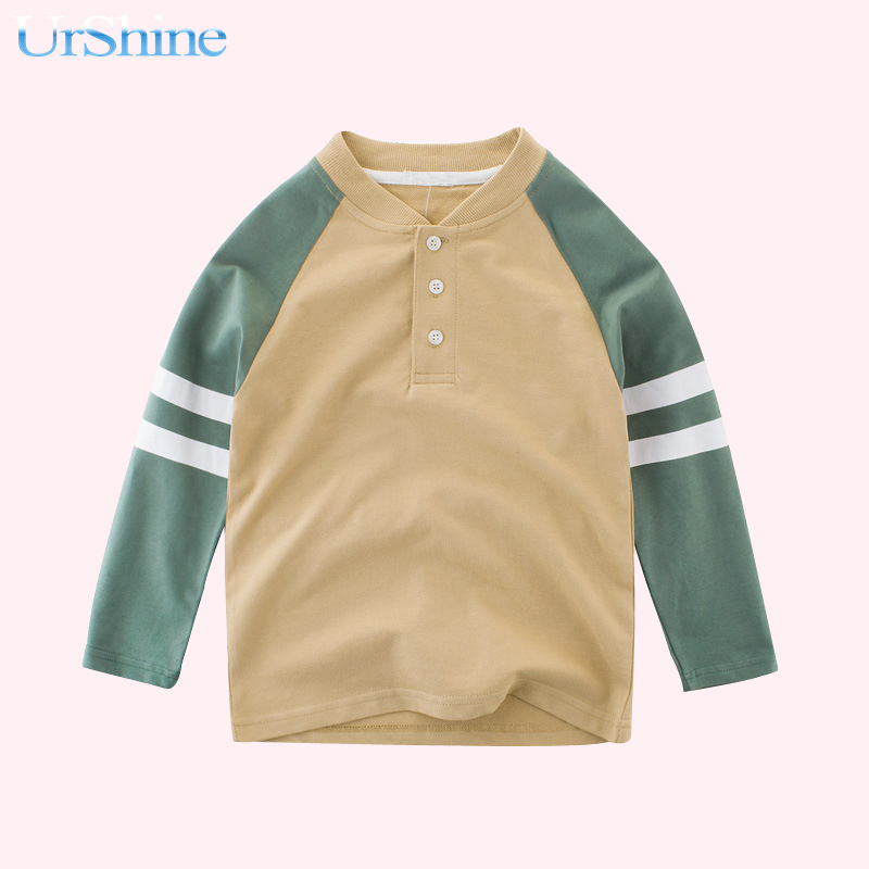 Baby Childrens Clothing Large Terry Sleeve Sweater T-shirt Fashion Design Personality Leisure Cotton Tops V-neck Long Sleeve