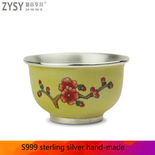 Silver tea with silver pot cup Kung Fu household set small