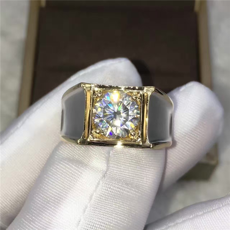 TransGems 2 Carat Lab Grown Moissanite Diamond Solitaire Wedding Band for Man Brilliant Solid 14K Two Tone Gold Gentle Men Ring transgems 1 carat lab grown moissanite diamond solitaire wedding band for man brilliant solid 18k two tone gold gentle dcc031